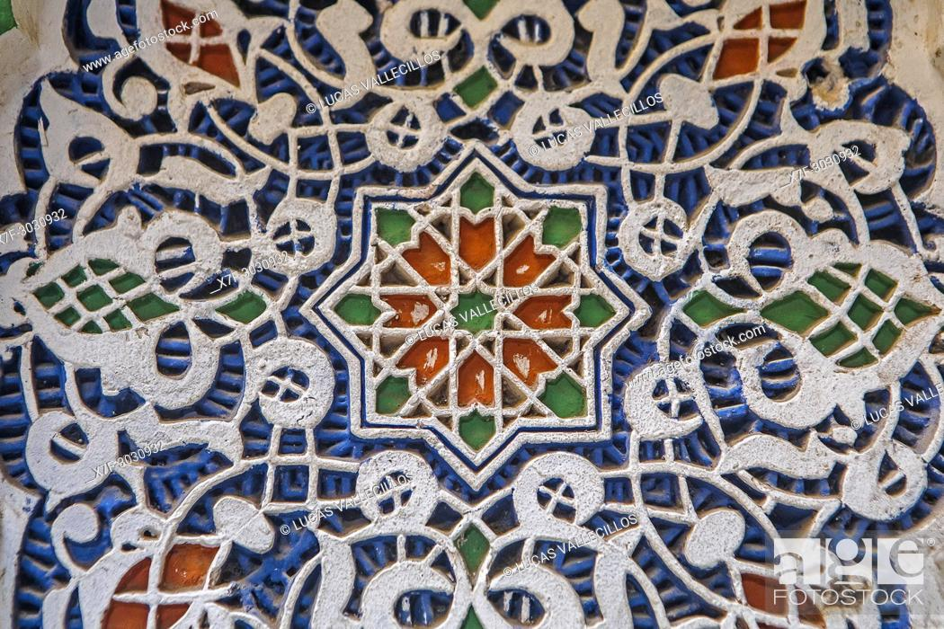 Stock Photo: Detail, plaster ornamentation, courtyard of Zaouia (tomb) of Moulay Idriss II, medina, Fez. Morocco.
