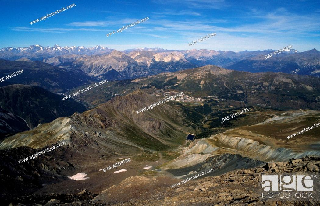 Stock Photo: Val di Susa La Pla and Val Chisone from Punta Rognosa, Piedmont, Italy.