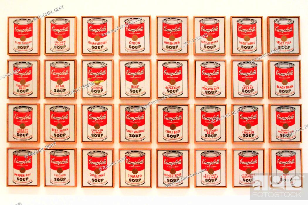 Stock Photo: Campbell's Soup cans by Andy Warhol. Museum of Modern Art. New York City. USA.