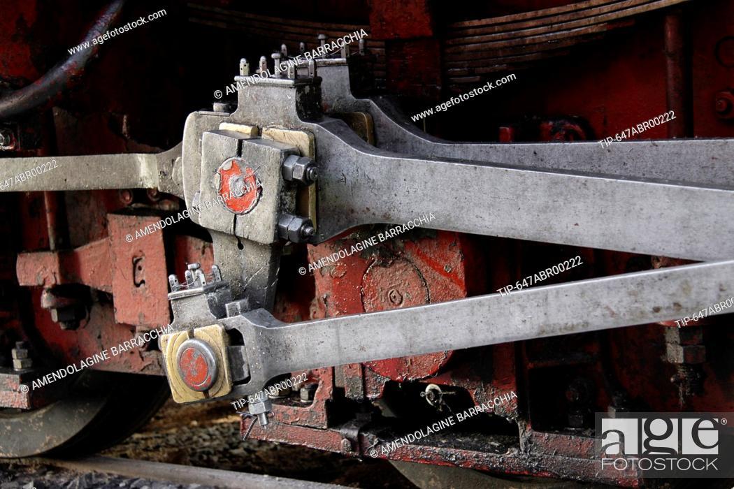 Stock Photo: plungers of steam locomotive, closeup.