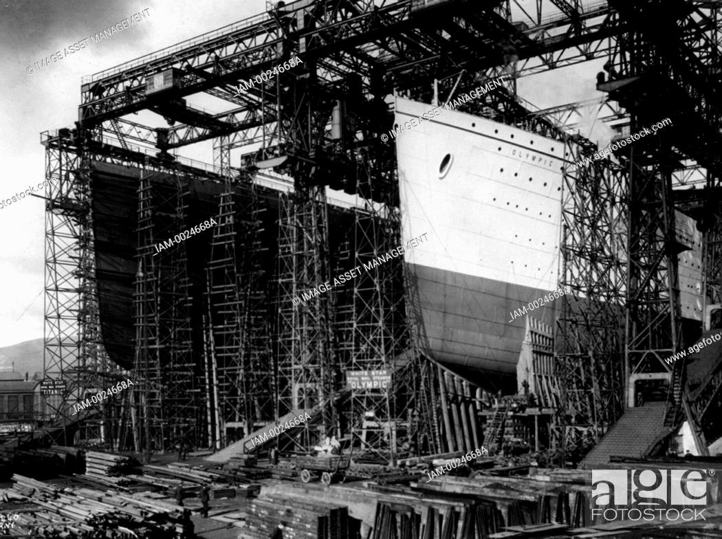 Stock Photo: OLYMPIC and TITANIC - view of bows [in shipyard construction scaffolding] Date Created/Published: [between 1909 and 1911] Medium: 1 photographic print.