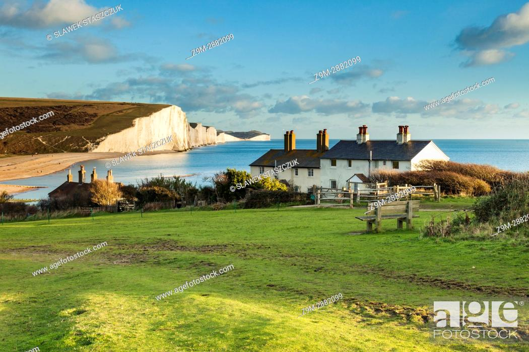 Stock Photo: Coastguard Cottages and Seven Sisters cliffs in East Sussex, England. South Downs National Park.