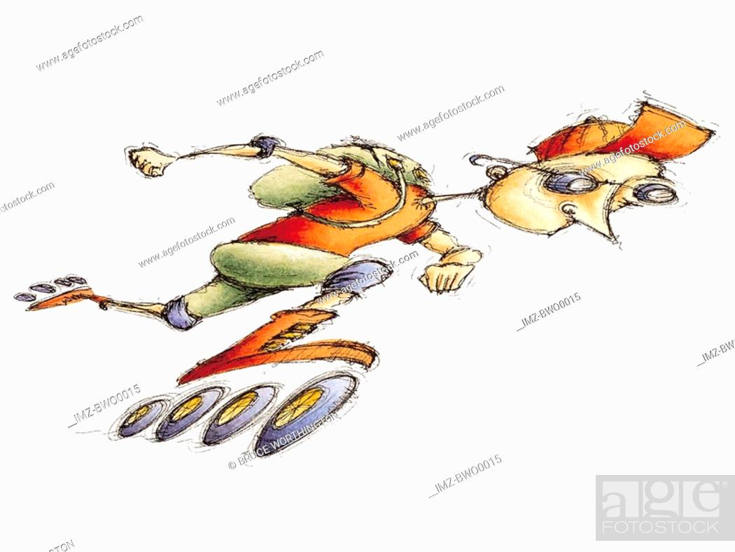 Stock Photo: A courier speeding on roller blades,looking at his watch.