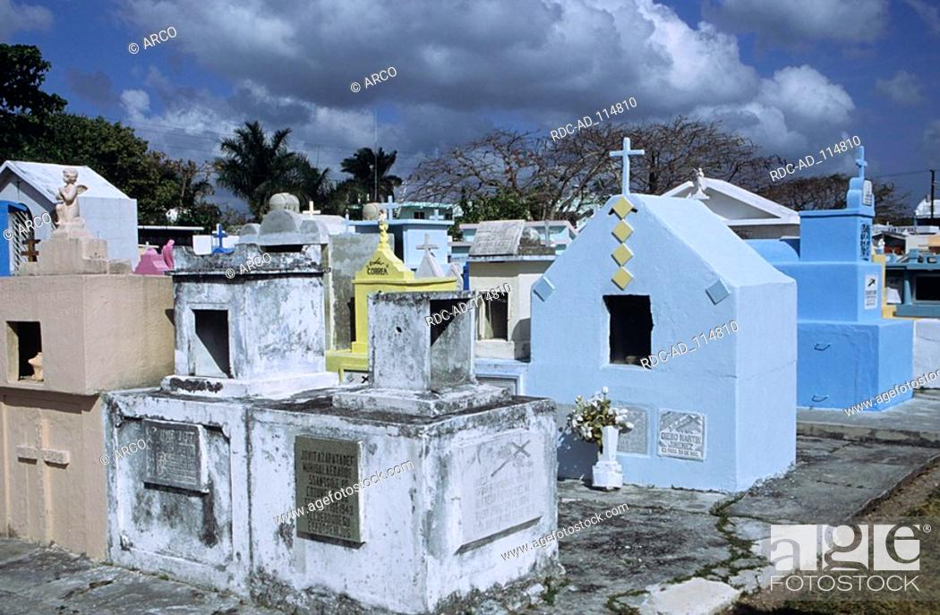 Stock Photo: Cemetery Cozumel Island Mexico.