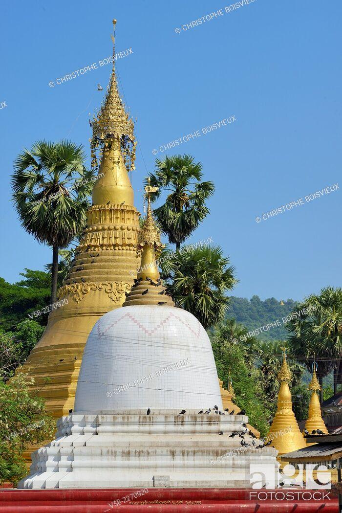 Stock Photo: Myanmar, Mon State, Thaton, Thaton pagoda.