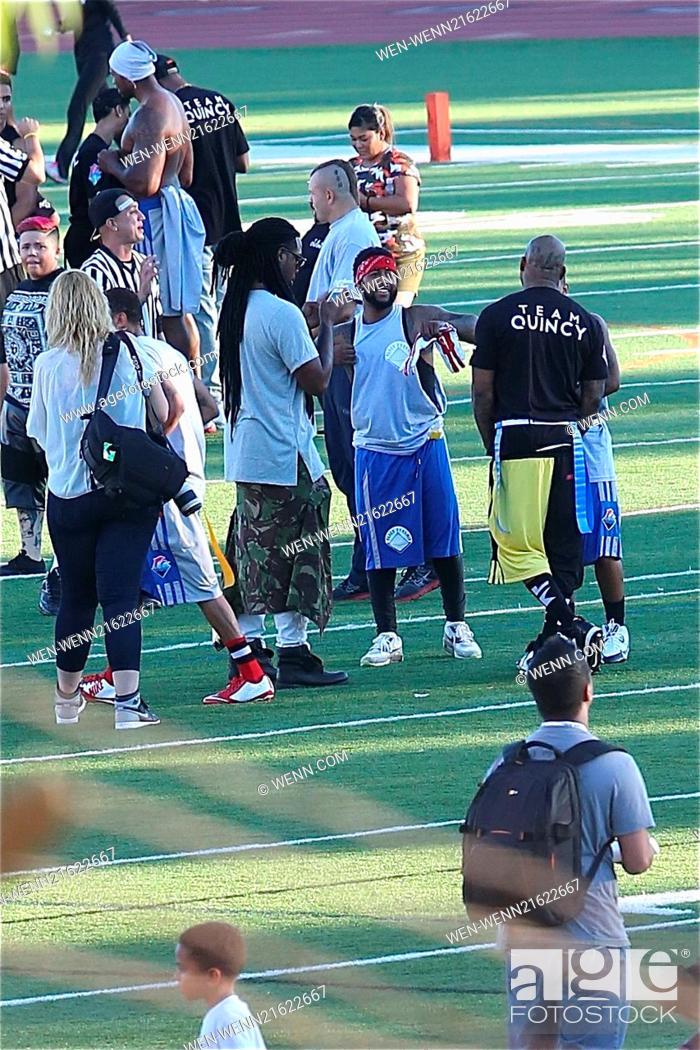 Chris Brown Charity Flag Football Game At Jack Kemp Stadium At