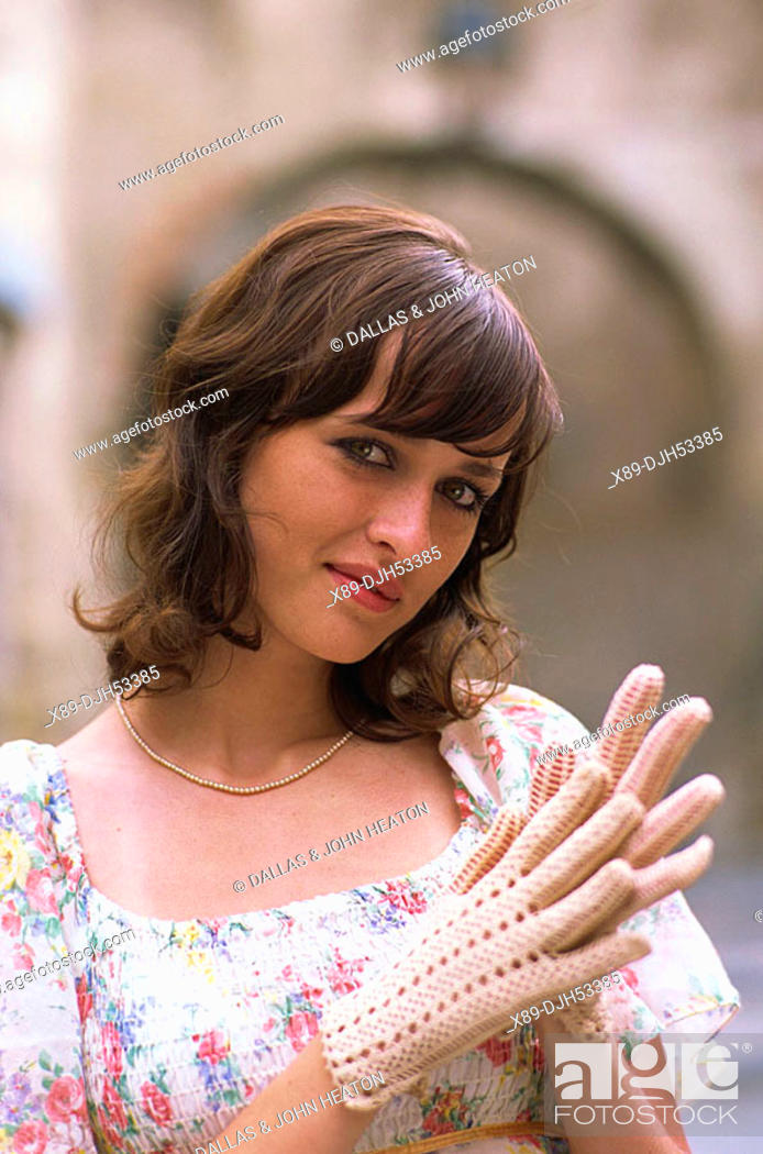 Stock Photo: Romania, Transylvania, Sighisoara, Girl in Folk Costume MR53-01.