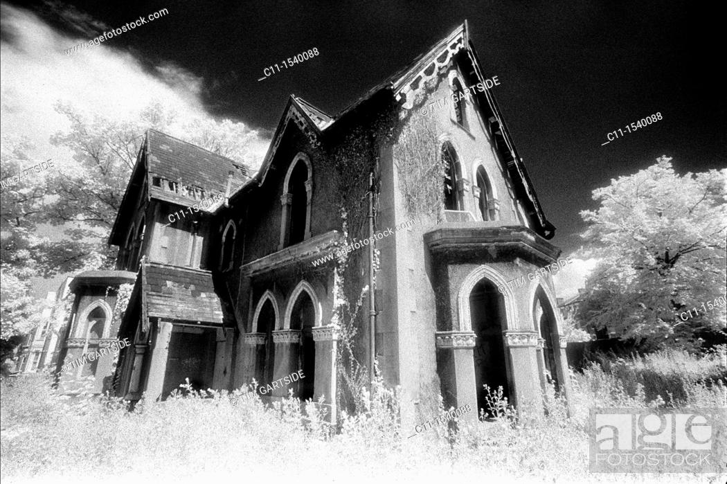 Stock Photo: old, abandoned, house, infra red, film.