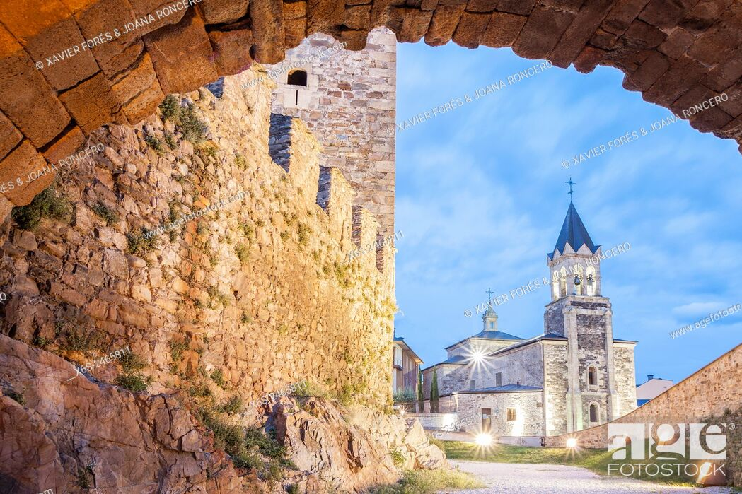 Stock Photo: View of San Andres church from Los Templarios Castle in Ponferrada, Way of St. James, Leon, Spain.