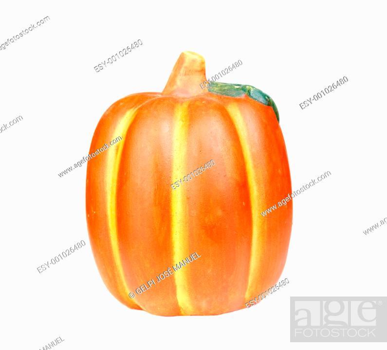Stock Photo: Orange pumpkin isolated.