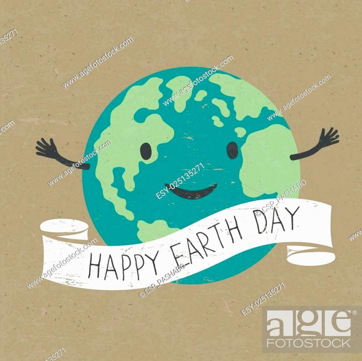 Stock Vector: Cartoon Earth with ribbon and text. Planet smile. Happy Earth Day words. On old recycled paper texture. Grunge layers easily edited.
