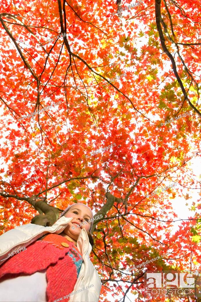 Stock Photo: Girl standing under tree with autumn leaves.
