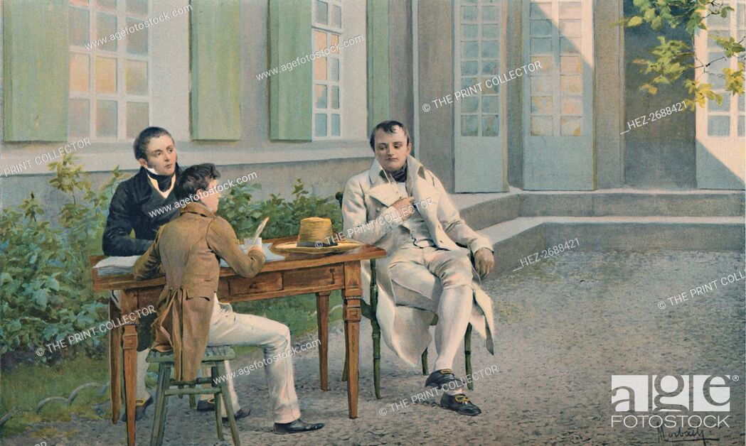 Stock Photo: 'Las Casas and His Son Writing The History of Napoleon Under His Dictation', c1815, (1896). Artist: Unknown.