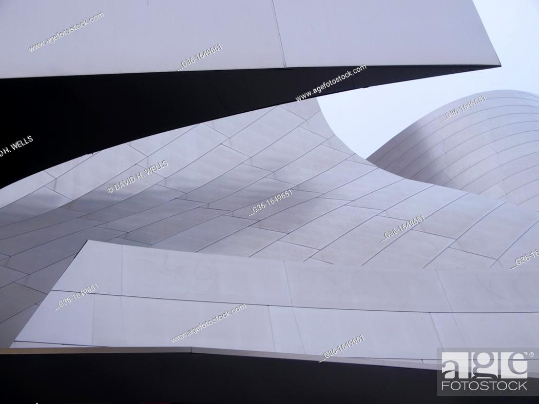 Different panels and parts of the Disney Concert Hall