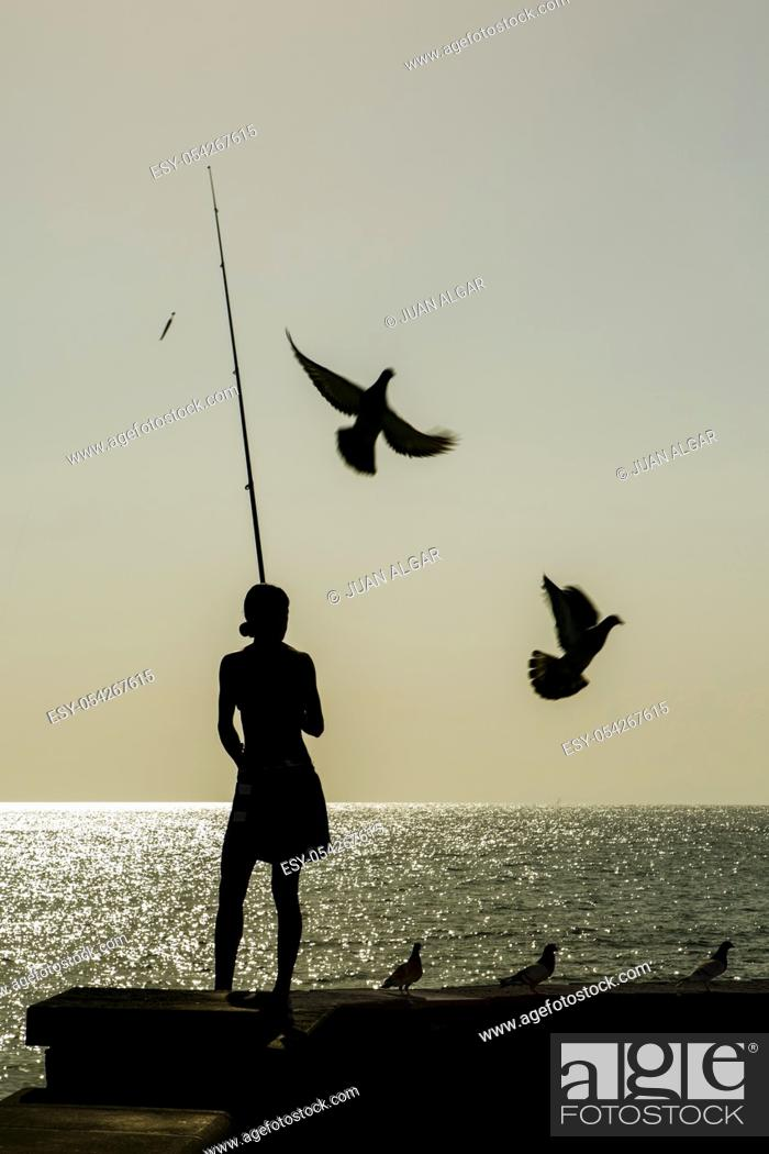 Stock Photo: Silhouette of woman with fishing tackle standing on pier against seascape and sky, Gran Canaria, Spain.