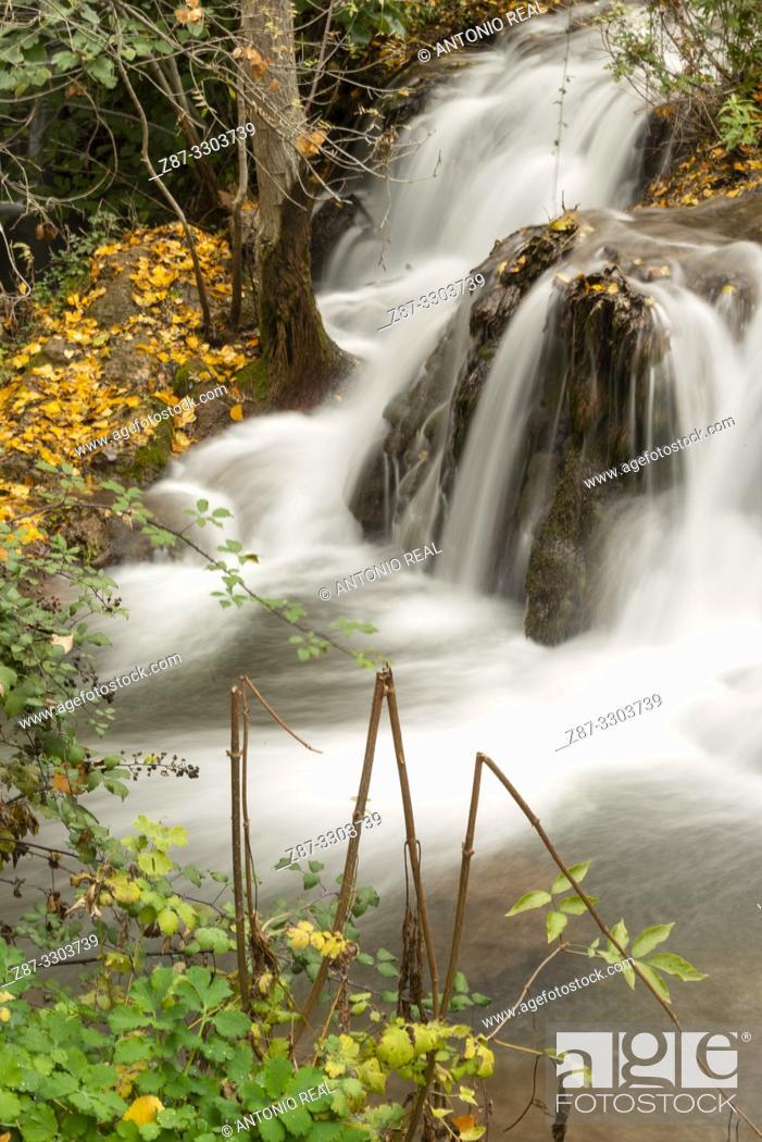 Stock Photo: Waterfalls in Río Dulce. Aragosa. Parque Natural Barranco del Río Dulce. Guadalajara Province, Castile-La Mancha, Spain.