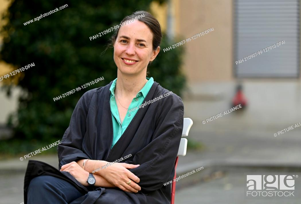 Stock Photo: 07 September 2021, Berlin: Lisa Marei Schmidt, Director Brücke Museum, looks into the camera after the press conference before the start of Berlin Art Week.