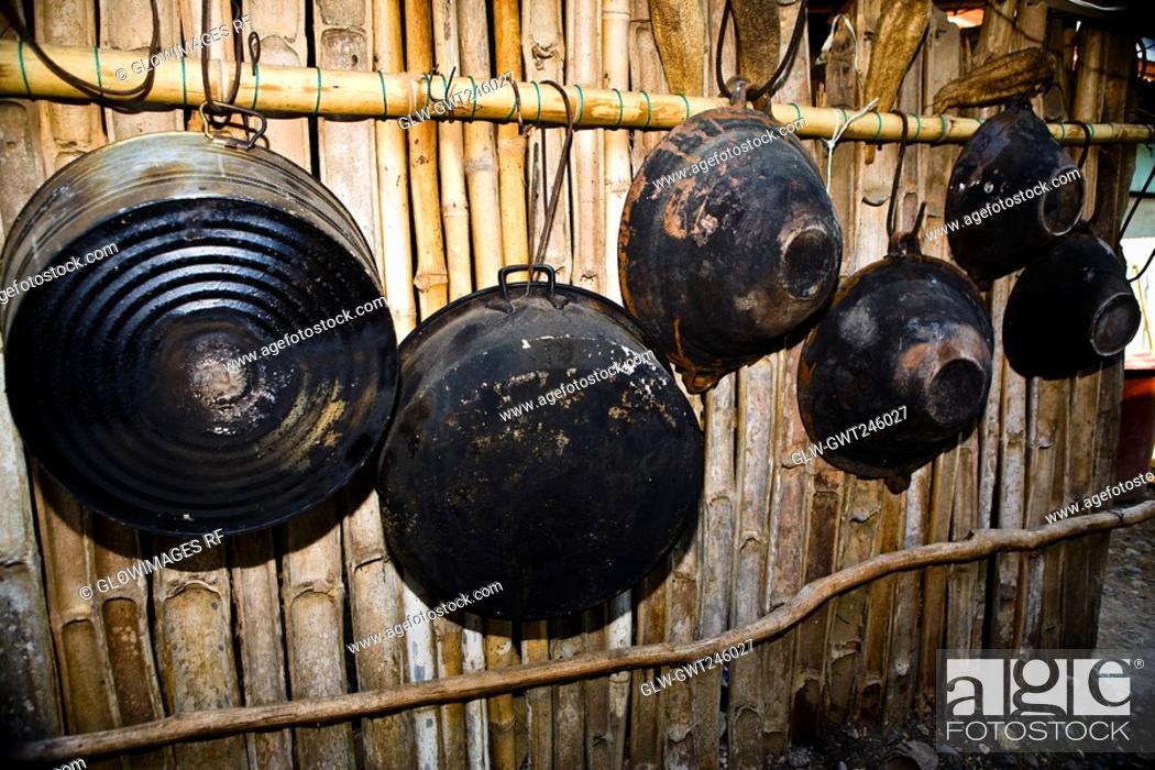 Stock Photo: Woks hanging on bamboos, Hidalgo, Papantla, Veracruz, Mexico.