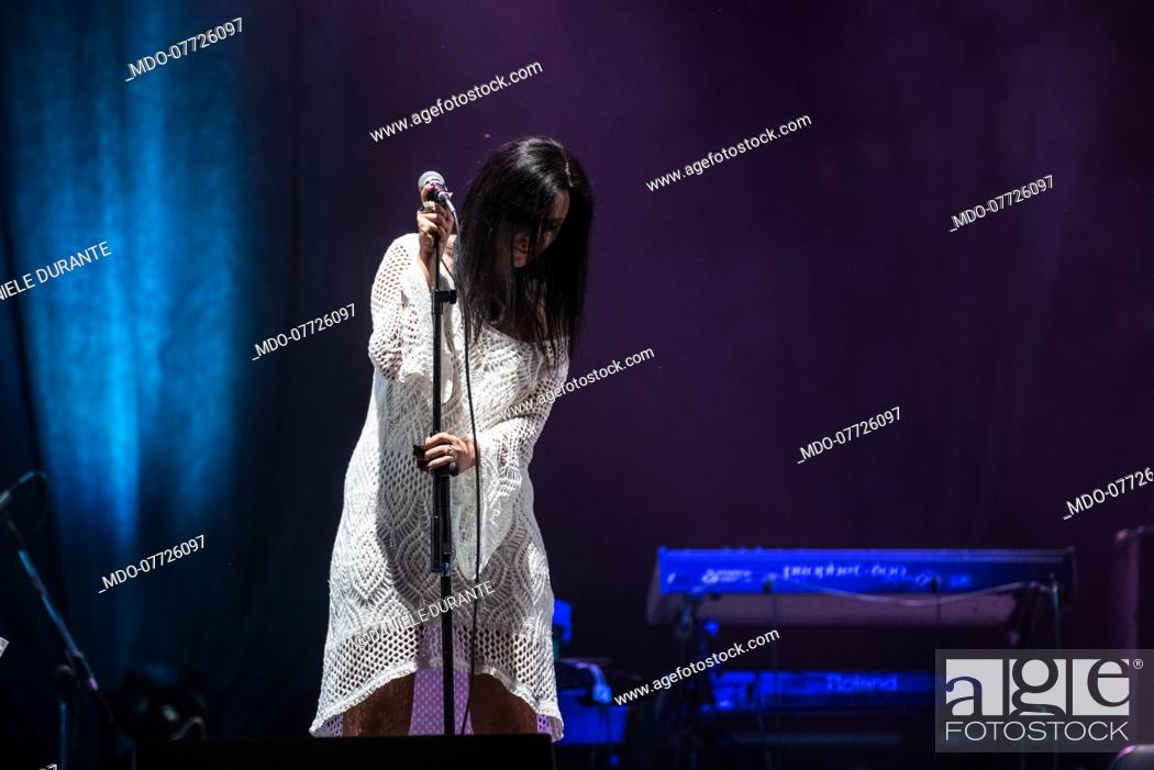 Stock Photo: Italian singer Rosamaria Tempone known as Rosmy opens for Daniele Durante who presents Taranta a preview of the Contaminafro Festival 2020 at the Sforzesco.