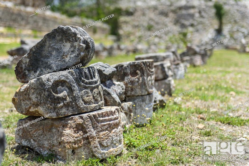 Stock Photo: Detail of stones recovered in the ruins at Kabah, Yucatan Peninsula, Mexico.