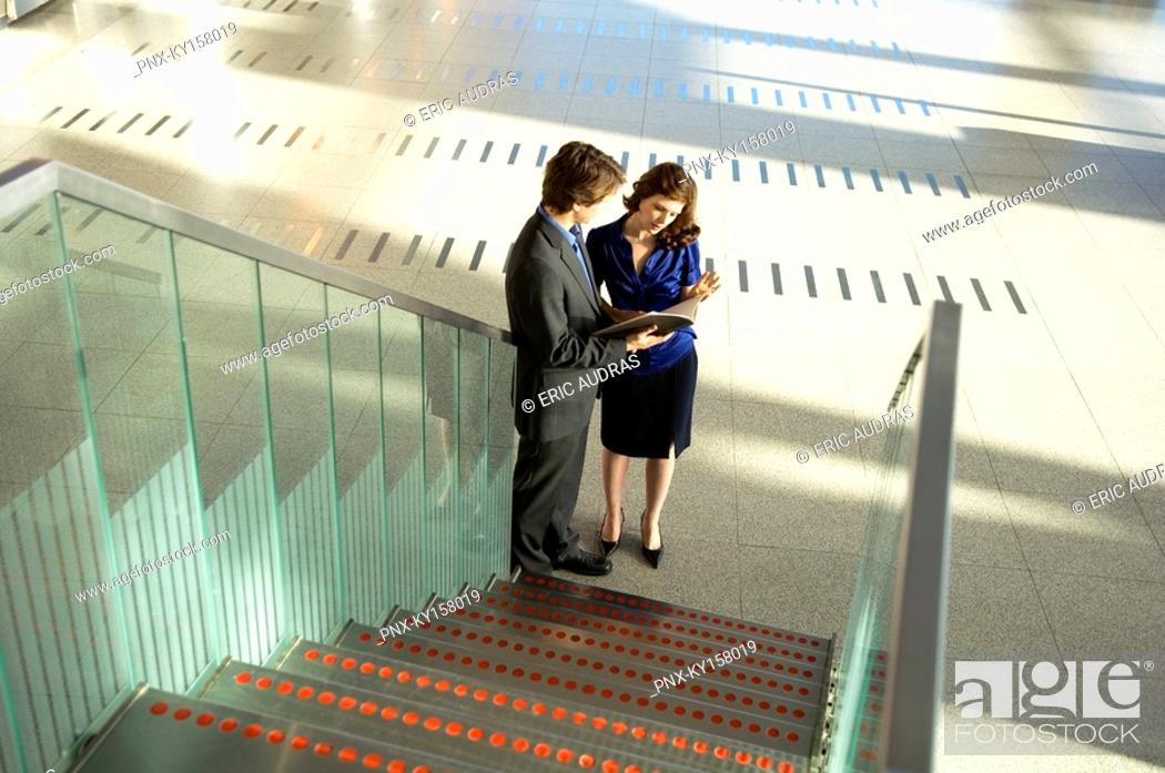 Stock Photo: High angle view of a businessman and a businesswoman looking at a diary.