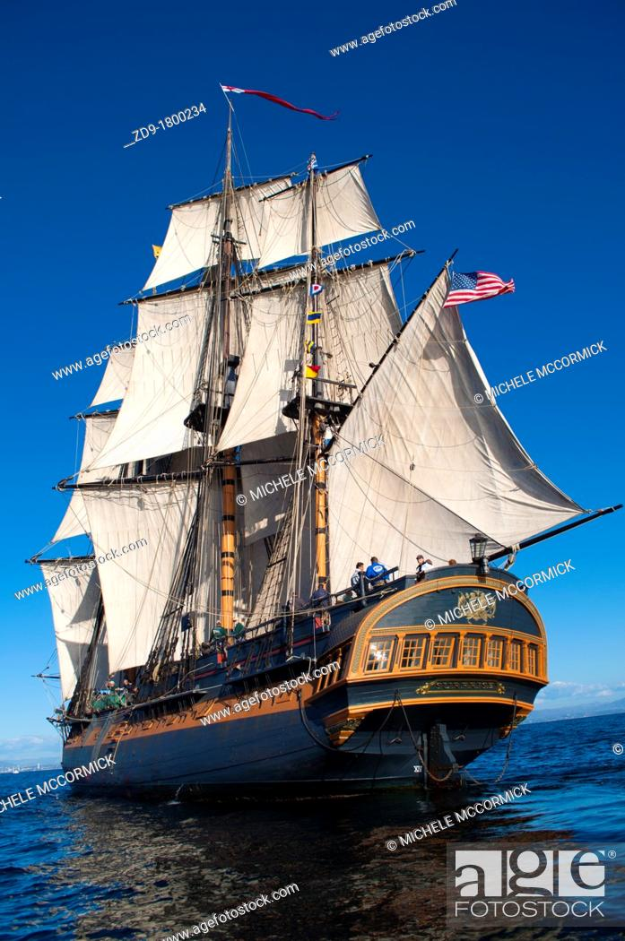 Stock Photo: HMS Surprise, created in 1970 for the movie Master and Commander, sails the San Diego Bay.