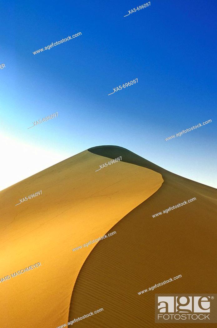 Stock Photo: Morocco, near Merzouga, Erg Chebbi, Sahara Desert Dunes.