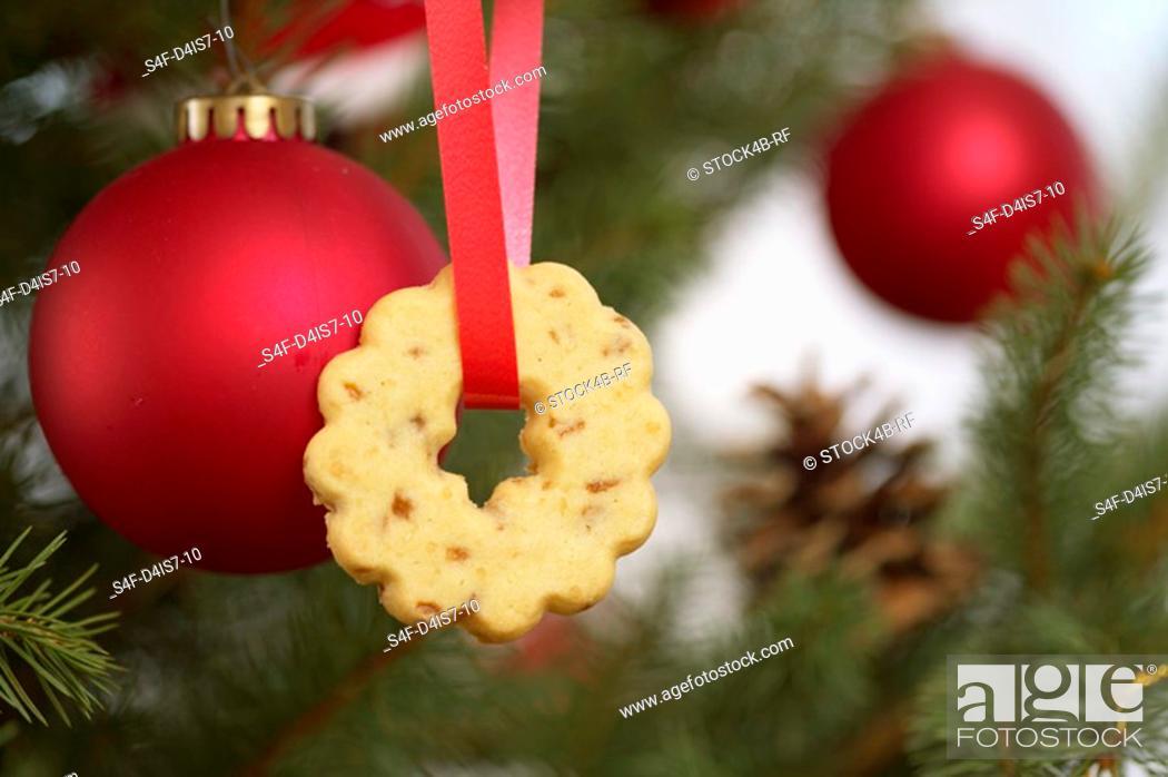 Stock Photo: Christmas cookie on Christmas tree.