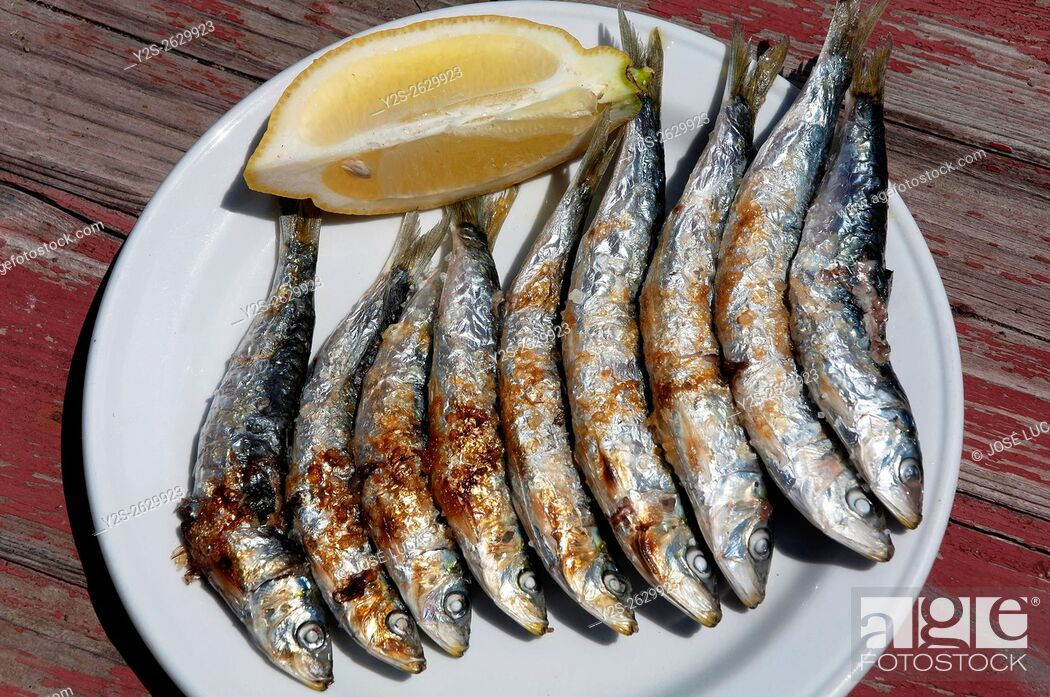 Stock Photo: Grilled sardines, Torre del Mar beach, Malaga province, Region of Andalusia, Spain, Europe.