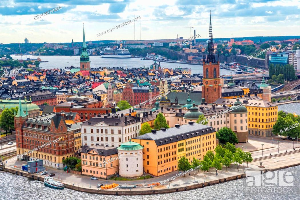 Stock Photo: Scenic summer aerial panorama of the Old Town (Gamla Stan) in Stockholm, Sweden.