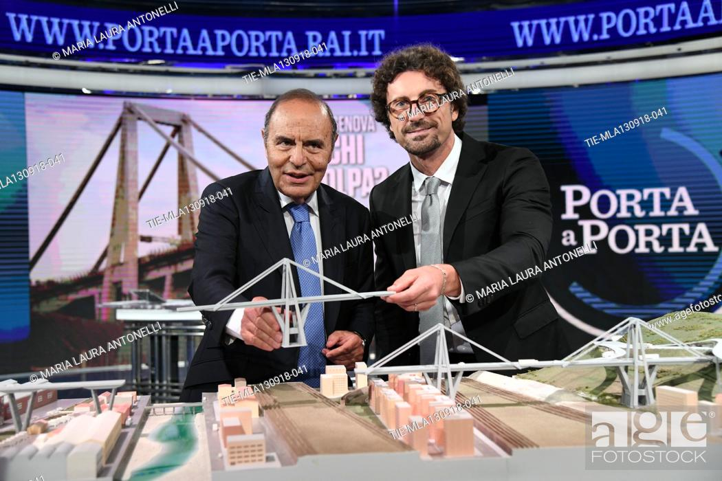 Photo de stock: Journalist Bruno Vespa, Italian Minister of Transportation and Infrastructures Danilo Toninelli with the model of the Morandi Bridge collapsed in Genoa during.