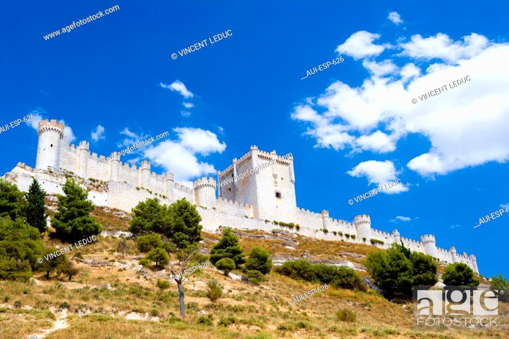 Stock Photo: Spain - Castile and Leon - Province of Valladolid - Penafiel - Penafiel Castle.
