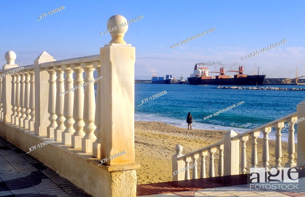 Stock Photo: 'Macael' marble bannister. Garrucha beach, Almeria province, Andalucia, Spain.