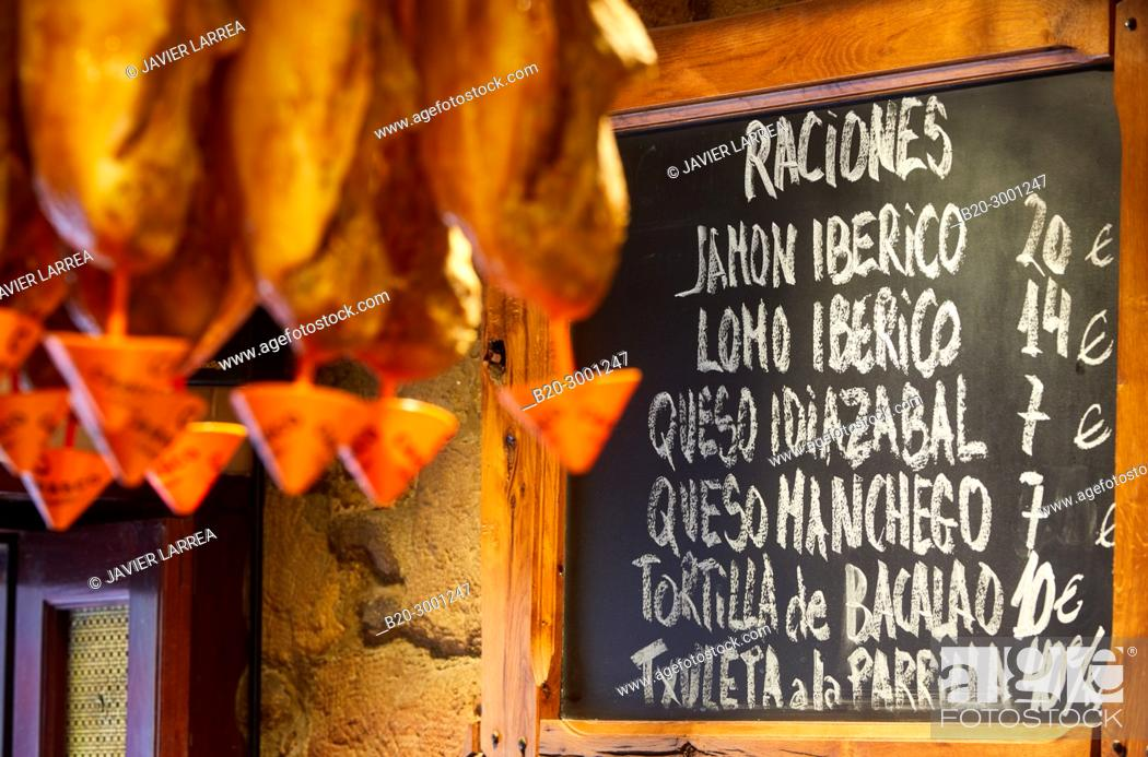 Stock Photo: Ham, Bar Taberna Aralar, Parte Vieja, Old Town, Donostia, San Sebastian, Gipuzkoa, Basque Country, Spain.