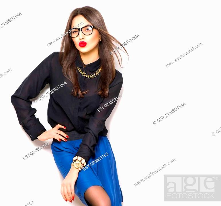 e32b16ec4 Stock Photo - File name:Beauty sexy fashion model girl wearing glasses,  isolated on white background