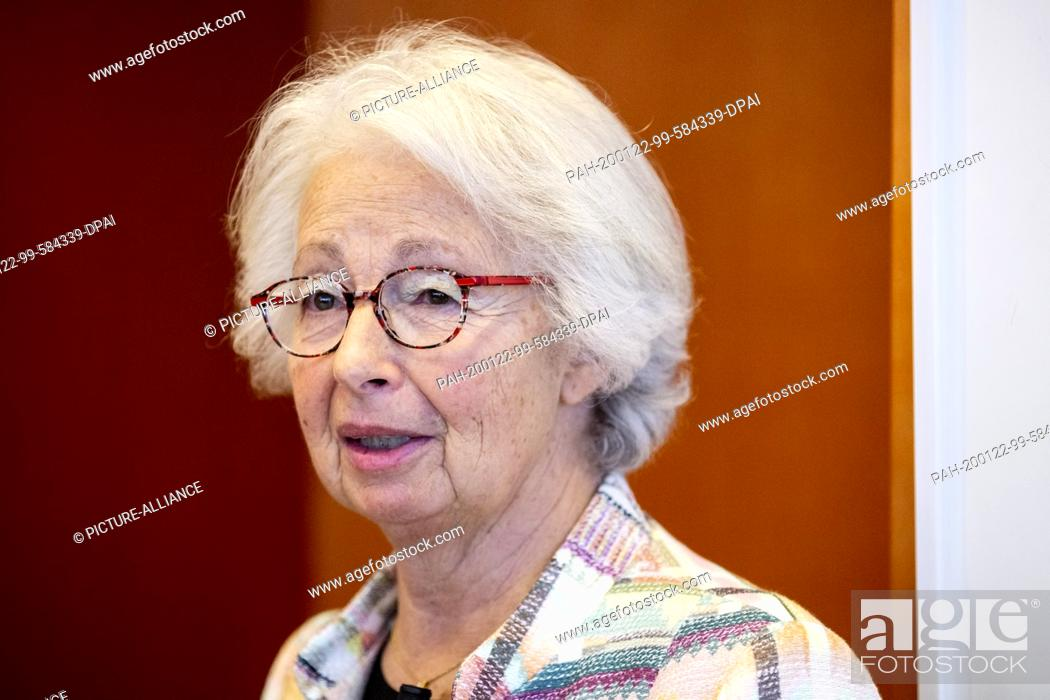 Stock Photo: 22 January 2020, Berlin: Francine Kahn, grandniece of the art collector Armand Dorville, speaks to her as Armand Dorville's heiress in the office of Minister of.