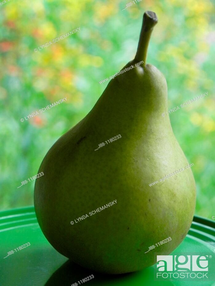 Stock Photo: Pear on plate in the garden.