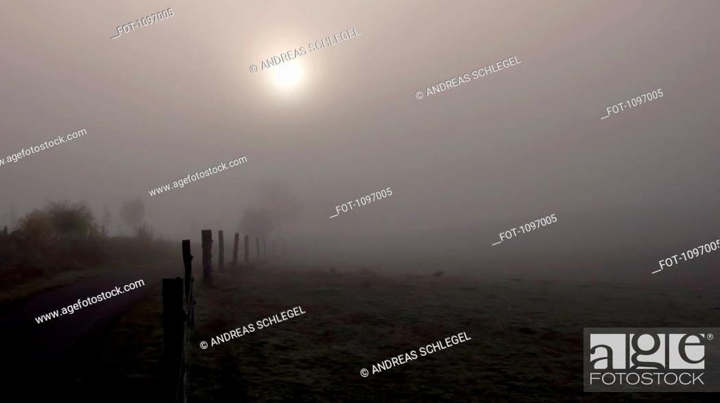 Stock Photo: View of a foggy landscape.