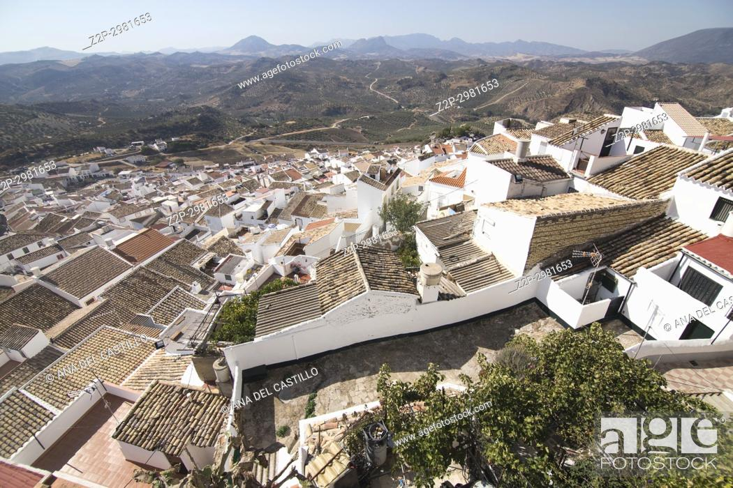 Stock Photo: Olvera is one of the most beautiful villages in Spain, Andalusia, Spain. Aerial view.