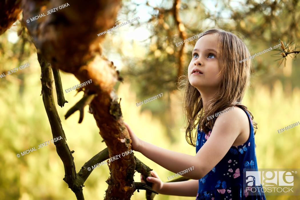 Stock Photo: two adorable girls in summer dresses are climbing a tree in the forest.