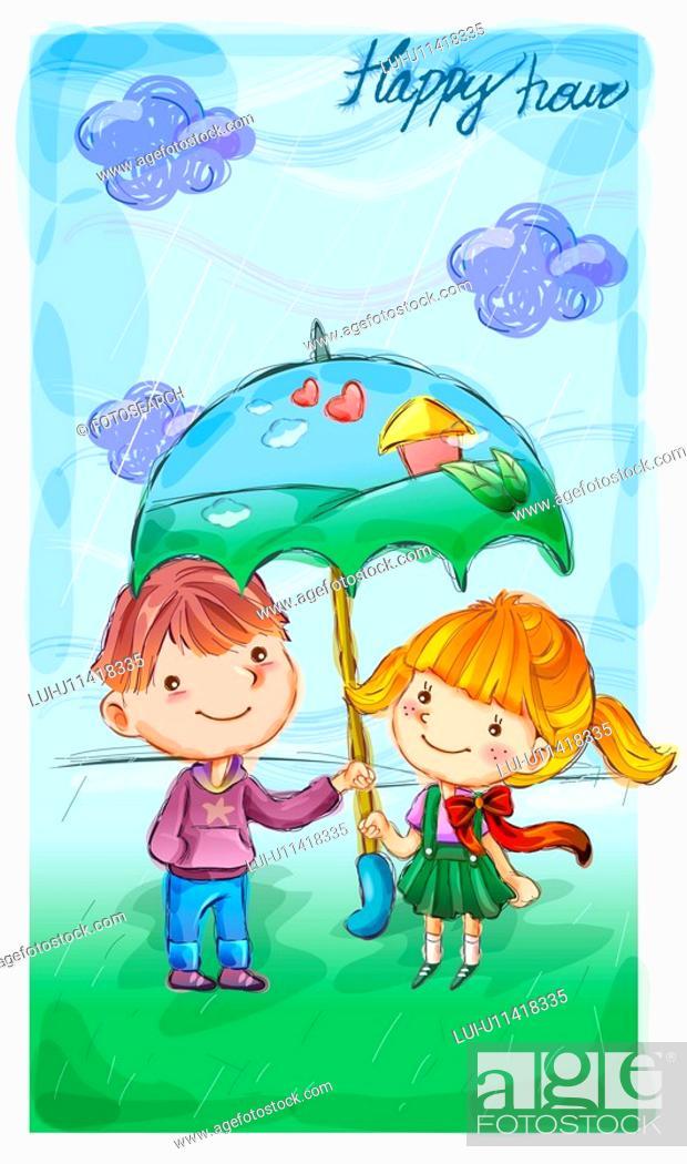 Stock Photo: umbrella, fairy tale, boy, girl, child, nature.