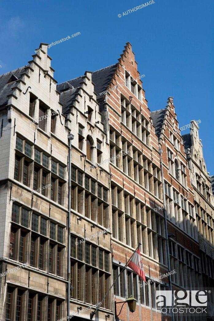 Stock Photo: Belgium - Flanders - Antwerp - Building in street Gildekamersstraat Guildhouse Street.