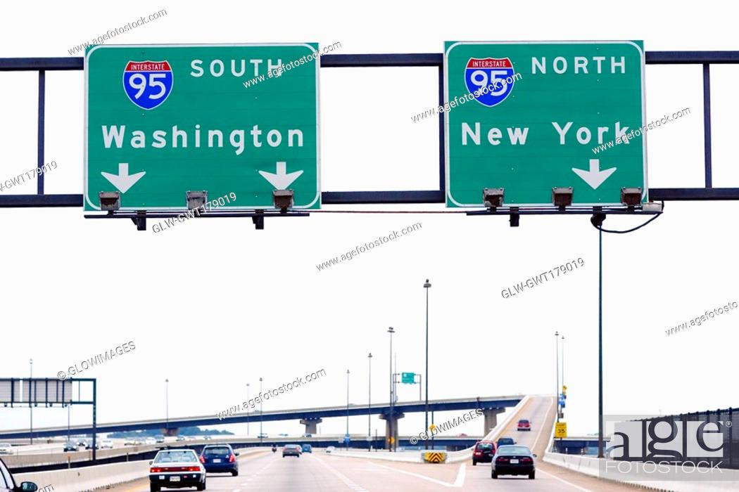 Stock Photo: Low angle view of road signboards over the road, Baltimore, Maryland, USA.