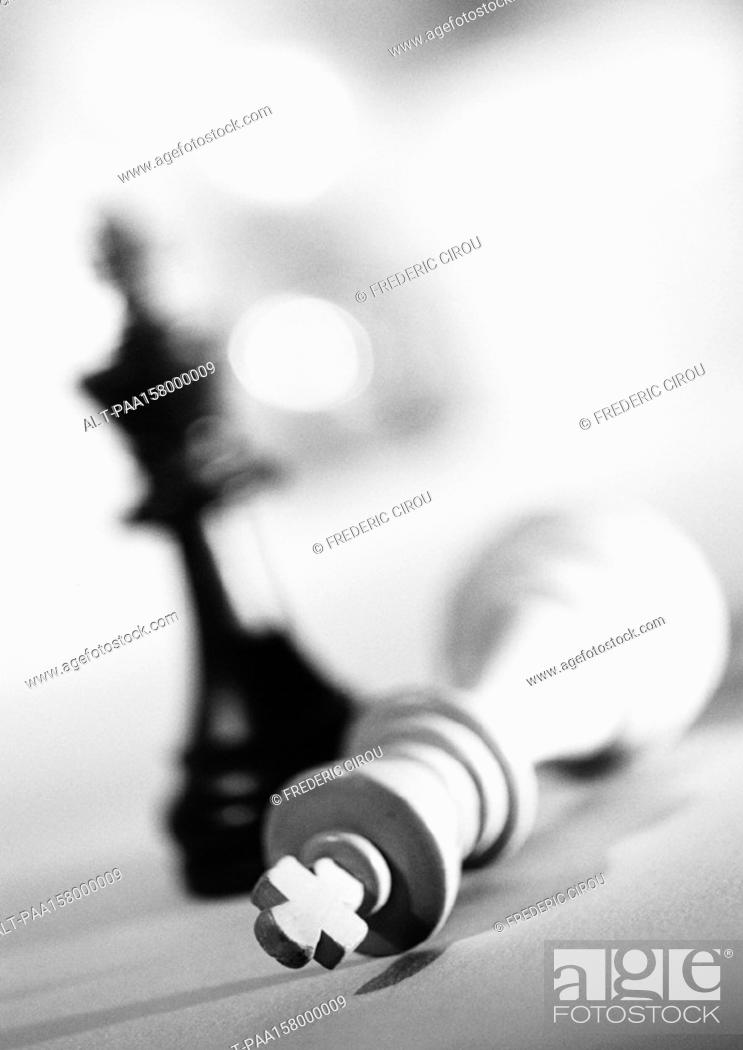 Stock Photo: Pieces from chess set, b&w.