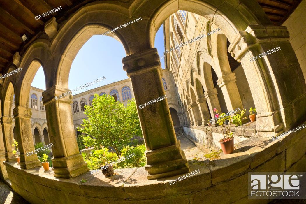 Stock Photo: Hostel Monastery of La Magdalena, 13th Century Romanesque Style, Sarria, Lugo, Galicia, Spain, Europe.