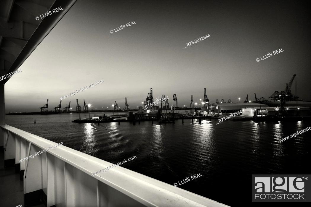 Stock Photo: Port seen from the deck of a ferry boat. Mediterranean Coast, Valencia, Spain.
