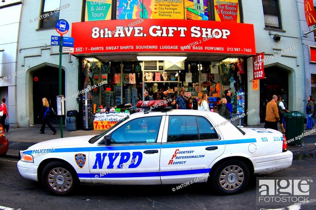 Stock Photo: USA, New York City, police car.