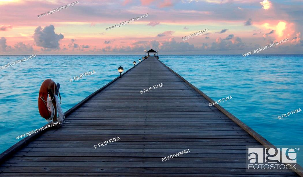 Stock Photo: Sunset in the maldives.