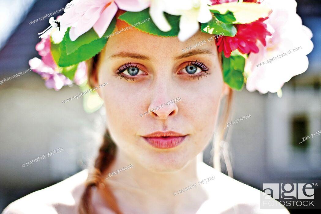 Stock Photo: Beautiful Girl Fashion Portrait, Kampina, Boxtel, Noord-Brabant, The Netherlands, Europe.