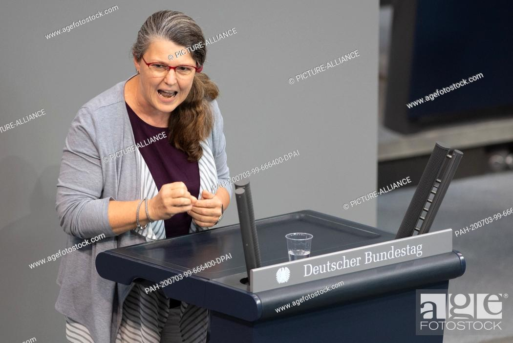 Stock Photo: 03 July 2020, Berlin: Ute Vogt (SPD) speaks in the plenary session of the German Bundestag. The main topics of the 171st session of the 19th legislative period.